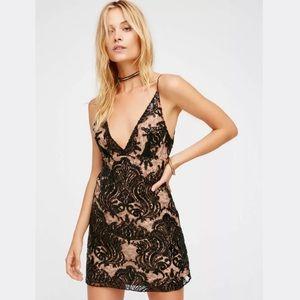 Free People | Night Shimmers Mini Dress in Black